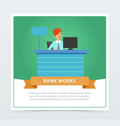female manager at the bank office bank works vector image