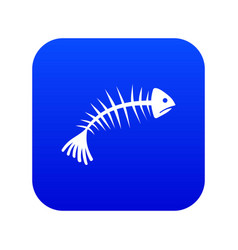 fish bones icon digital blue vector image
