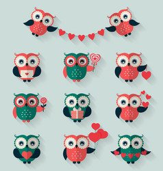 flat owls love romantic and valentines day theme vector image
