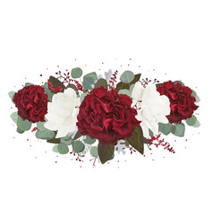 floral bouquet design with garden red rose flowers vector image