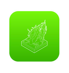 forest fire icon green vector image