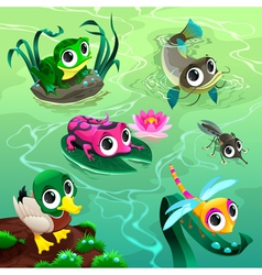 Funny animals in pond vector