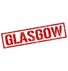 Glasgow red square stamp vector