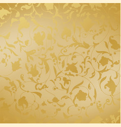 golden background with floral ornament luxury vector image