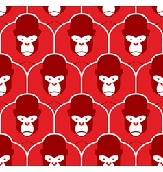 Gorilla seamless pattern flock of angry red big vector