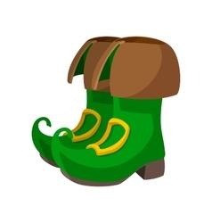 Green leprechaun boots cartoon icon vector image