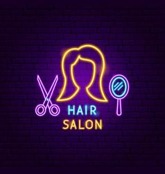 Hair salon neon label vector
