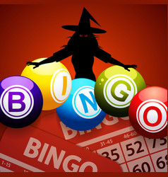 Halloween bingo balls and spooky witch vector