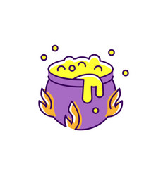 Halloween cauldron icon witch potion colorful vector