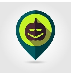 Halloween pumpkins mapping pin icon vector image