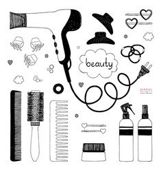 Hand drawn set of hair styling hair dryer vector
