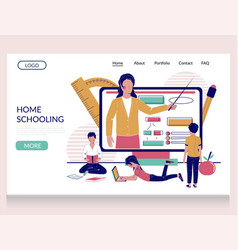 home schooling website landing page vector image