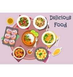 Hot meat dishes with fish snack and salads icon vector