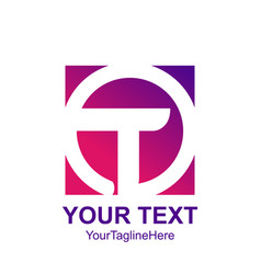 Initial letter t logo template colorful circle vector