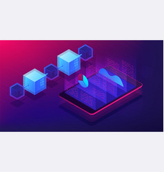 isometric blockchain white paper and ico analysis vector image