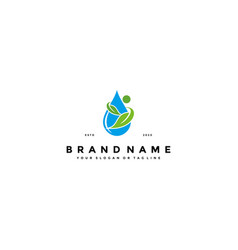 Leaf and water logo icon design template vector