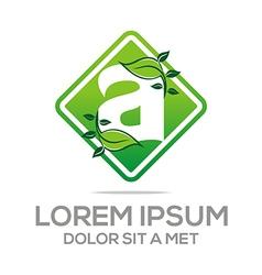 letter a design element eco leaves vector image