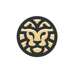 lion head circle bold line flat style business vector image