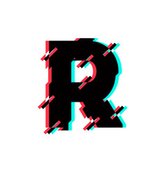 logo letter r glitch distortion diagonal vector image