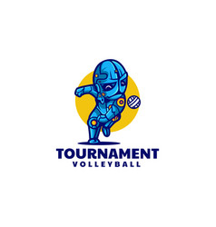 logo volleyball tournament simple mascot style vector image