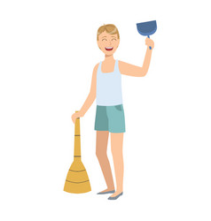 Man in sleeveless top and shorts with broom and vector