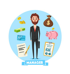 Manager man with office business items vector