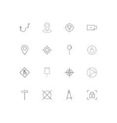 Maps and navigation linear thin icons set vector