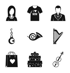 Marry icons set simple style vector