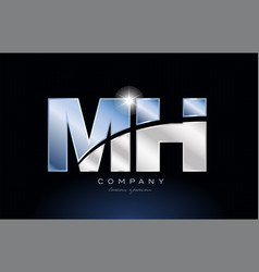 Metal blue alphabet letter mh m h logo company vector