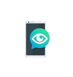 monitoring icon eye on smartphone screen vector image