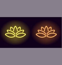 neon yellow and orange lotus vector image