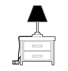 nightstand with lamp black color section vector image