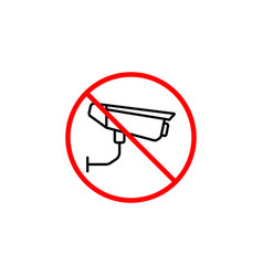 no surveillance line icon no camera prohibition vector image