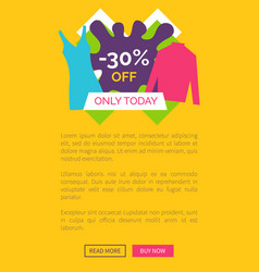 only today 30 off promo poster with push buttons vector image