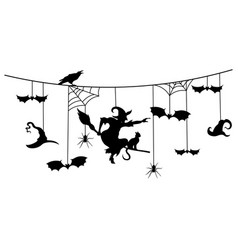 Paper garland for halloween with mystical vector