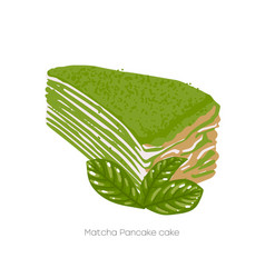 Piece matcha pancake cakecovered with green vector