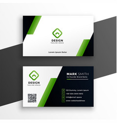 Professional geometric green business card vector