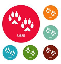 Rabbit step icons circle set vector