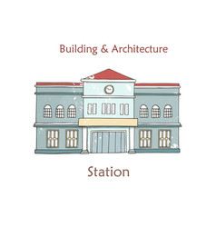 railway station icon cartoon vector image