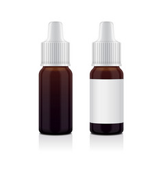 Realistic essential oil brown bottle set mock up vector