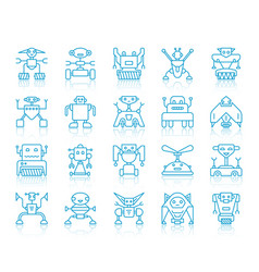 robot simple blue line icons set vector image