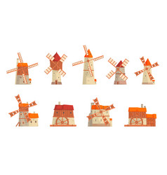 rural windmills set collection traditional vector image