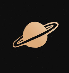 Saturn gold space doodle sticker vector