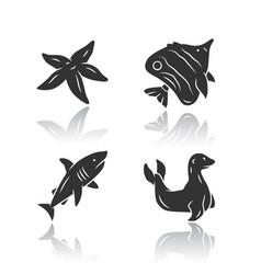 sea animals drop shadow black glyph icons set vector image