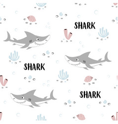 Seamless pattern cute shark with lettering vector