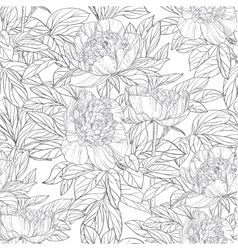 Seamless pattern of flowers peonies black and vector image vector image