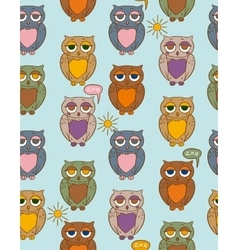 Seamless Pattern with Sleepy Color Owls on a Sunny vector