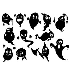 Set of cute halloween monster ghost silhouettes vector