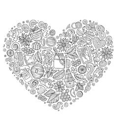 Set of Honey cartoon doodle objects vector