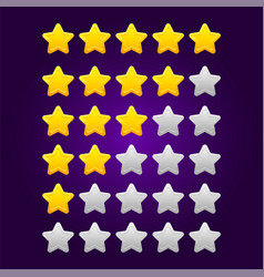set shiny star ratings for mobile games vector image